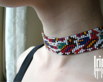Beaded choker with birds. Seed bead choker. Traditional ukrainian gerdan. Beaded gerdan. Ribbon Gerdan with birds