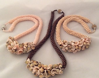 Unique shell bead Kumihimo necklace in your choice of light peach, copperlin brown or beige Czech glass beads