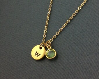 Gold Initial Necklace-Birthstone Necklace-Monogram Necklace-Swarovski Crystal Birthstone Charm-Hand Stamped Jewelry-Personalised Jewelry