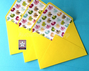 lined a2 envelope yellow baby shower envelope newborn baby stationary envelope note card - Decorative Envelopes