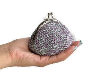 Coin Purse, Metal Frame Snap Closure Coin Keeper, Kiss Lock Pouch, Crochet Coin Container, Cotton Accessories Pouch, Tiny Change Clutch