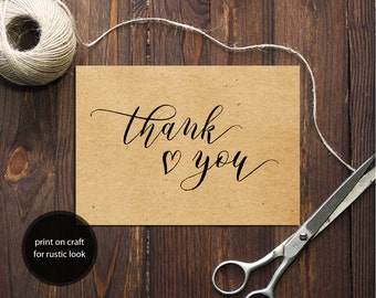 PDF Template 5x7 Thank You card INSTANT DOWNLOAD Wedding Thank You calligraphy Thank You Note Cards Printable Digital