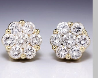 1.26CTW In 14K Yellow Gold Round Diamond Cluster Stud Earrings, Flower Earrings