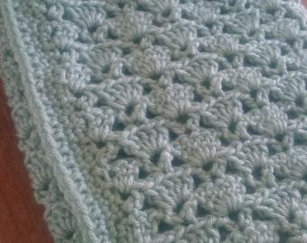 Lacy Green Crochet Baby Blanket