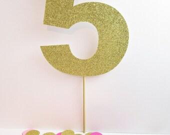Fifth Birthday Cake Topper | Age Cake Topper | Gold Cake Topper | Glitter Cake Topper | 5th Birthday Party | 5 Cake Topper | Custom Age