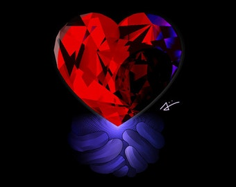 Decorative Crystal Heart Modern Geometry Artwork - HD Premium Print