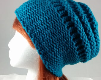 Turquoise  Hand-Knit Hat