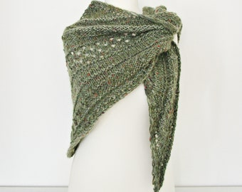 Knitted wool shawl Green knitted shawl Green wraps shawl Triangular shawl Hand knit shawl Knitted shawl Green Knit Shawl  Olive knit shawl