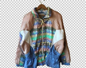 SALE MEDIUM Rose Gold Pastel Shimmer Opal 80s Windbreaker // Beautiful Multicolor Unicorn Angel Kawaii Space Princess Windbreaker Jacket