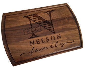 Custom Cutting Board, personalized cutting Board with Juice groove ,Wedding Monogram,  kitchen sign (188)