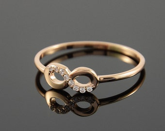 Infinity ring, Tiny gold ring, Small ring, Forever ring, Petite ring, Dainty ring, 14k gold ring, Promise ring, 14k engagement ring