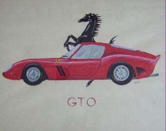 Prints drawings in watercolor, pastel and crayon on cardboard