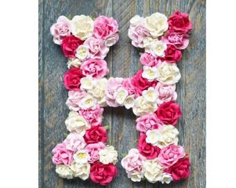 Pink flower letter