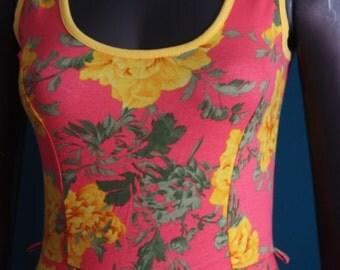 Coral dress and flowers peplum vintage mod cloth