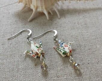 Origami Crane Earrings | Field of Flowers
