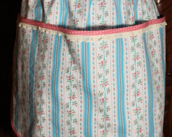 Half apron with pockets,  made from vintage fabric