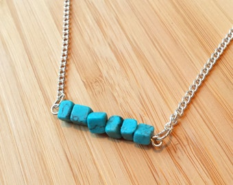 Blue Howlite Crystal Pendant Necklace Silver-Crystal Healing