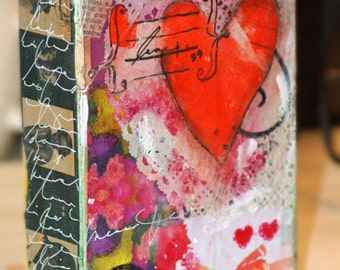 Mixed Media Painting, Original Acrylic Art, Wall Art, Abstract Art, Heart Art, Wood Canvas Art