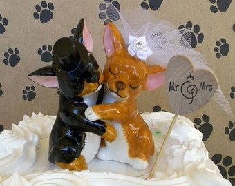 Dog Wedding Cake Topper, Dog Cake Topper, Pet Cake Topper, Rustic Wedding, Animal Cake Topper, Dog Bride, Dog Groom, Chihuahua Cake Topper