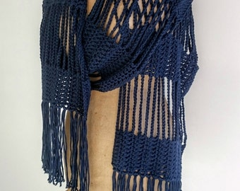 Crochet Scarf, Crochet Cotton Scarf, Crochet Blue Scarf, Cotton Bamboo Scarf, Lacey Scarf.