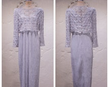 Vintage Silver Grey Embellished Evening Gown by Cattiva New York 70s 80s Black Tie Ice Blue Formal Lace & Satin Maxi Dress M Medium