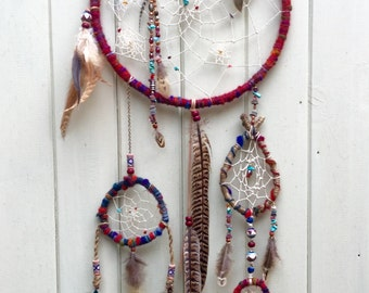 Large Multi Feather Beaded Multi Luxury Dreamcatcher