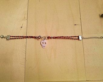 Recycled plastic bottles Skull Halloween bracelet ecofriendly upcycled handmade jewelery by RecuperArte