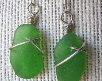 Green Sea Glass Earrings/Dangly Sterling Wire Wrapped/Surf Tumbled Maine/Ocean/Beach