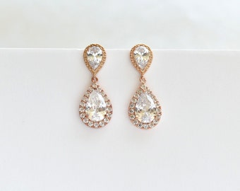 Rose Gold Wedding Earrings Cubic Zirconia Teardrop Earrings Bridal Crystal CZ Earrings Bridal Jewelry