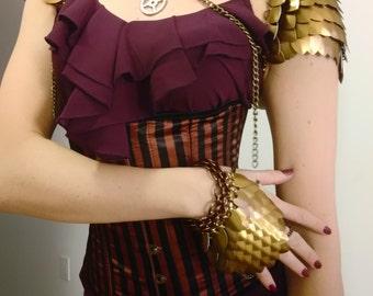 Steam Scale Pauldrons - steampunk shoulder armor spaulders Victorian Goth Vintage Bronze Cogs Skeleton Keys
