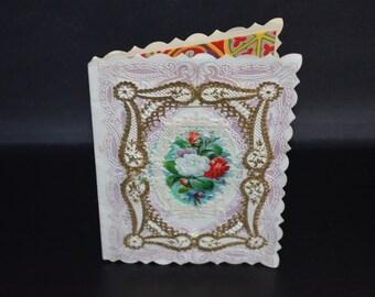 Valentine's Card Antique Paper Lace Victorian Gold Foil Valentine