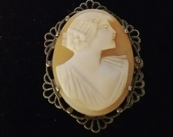 Sterling Silver Vintage Cameo Brooch