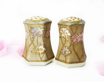 Pair of Antique Art Deco Nippon Shakers Floral, Set of 2, Hand Painted Shakers, Gold Moriage, Royal Nippon Brown Shakers