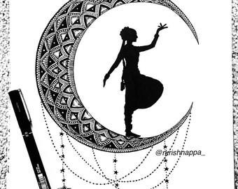 Crescent - Bharatanatyam Indian dancer art print