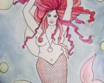 """Mermaid, Watercolor on paper, 9"""" x 12"""""""