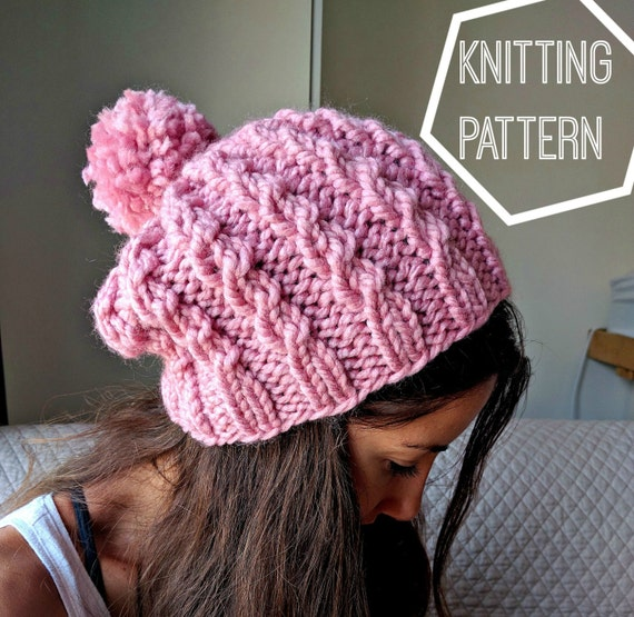 Knitting Pattern Cable Hat Easy : Easy Cable Knit Hat Pattern Cable Knit Beanie Pattern Simple