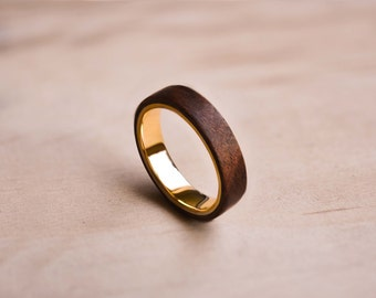Solid Yellow Gold and Santos Rosewood Bentwood Ring