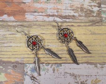 Dreamcatcher earrings. Dangling earrings. Zamak earrings.