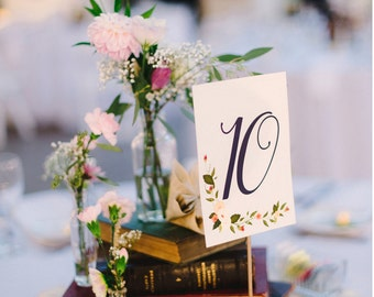 Floral Table Numbers with stands - Table Numbers for Wedding Reception - Wedding Centerpiece - romantic table number centerpiece