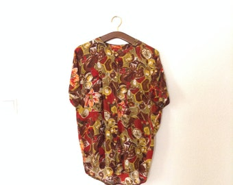 SALE Floral Vintage Shirt with Earth Tones