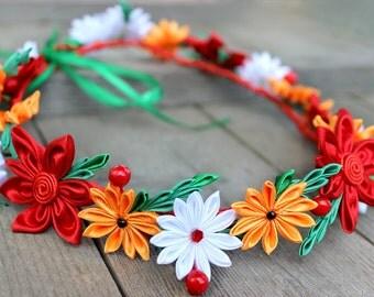 Boho wedding flower crown Rustic wedding headband Bridesmaids hair flower headband Bridal flower halo Red floral crown for adult Kanzashi