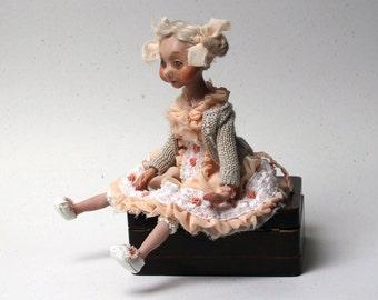 Art Doll Rose, OOAK  Doll, Handmade doll, Polymer Clay Doll, Home decor, Decorative Doll, Art Dolls, Interior Doll, Collecting Doll 10.2