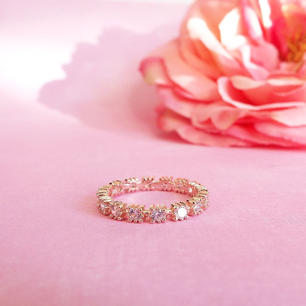 Rose Gold Eternity stacking Band CZ Diamond Band 3 mm Eternity Ring, Full Eternity anniversary Wedding Band promise ring gift for girlfriend