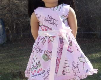 "Happy Birthday Dress for 18"" Dolls like American Girl Dolls"