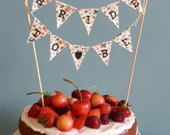 Wedding Vintage Fabric Hen do Cake Topper Bunting Banner -Bride To Be