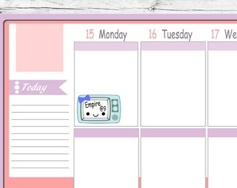 kawaii TV Planning Planner Stickers To Use With Erin Condren Planner Active