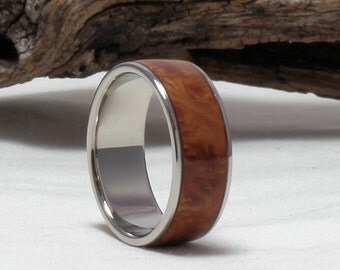 Titanium Ring with Maple Burl Inlay, Bentwood Ring - Titanium Wood Ring, Titanium Wedding Band, Wood Engagement Ring, Maple Burl