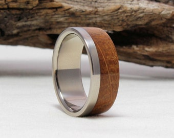 Titanium Ring with Jack Daniel's Whiskey Barrel wood  Titanium Ring, Titanium Wedding Band, Wood engagement ring