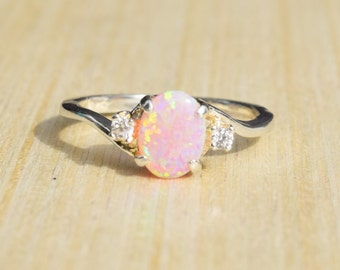 Silver Lab Opal Ring, Pink Opal Ring, Opal Engagement Ring, Promise Ring, Anniversary Gift For Her, October Birthstone