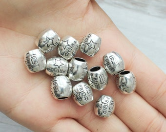 Best Friend Beads Set of 10 Carved Beads Small Beads Jewelry Supply Antique Silver Big Hole CF059